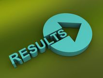 3d results sign. 3d illustration of results sign with directional arrow stock photography