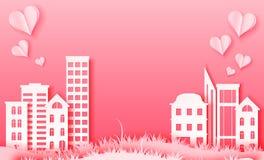 3d resumen el ejemplo del corte del papel de la ciudad de papel rosada Plantilla colorida del vector en la talla de estilo del ar libre illustration