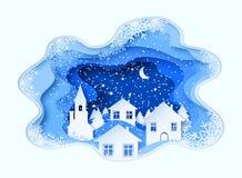 3d resumen el ejemplo del corte del papel del invierno, de la ciudad, de la noche, de la iglesia y de pinos Modelo del vector libre illustration