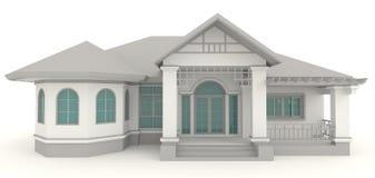 3D retro buitenontwerp van de huisarchitectuur in whi Stock Afbeeldingen