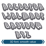 3d retro font in rotation, stylish vector letters design. Royalty Free Stock Photo