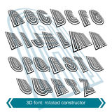 3d retro font in rotation, stylish vector letters design. Royalty Free Stock Photography