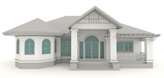 3D retro house architecture exterior design in whi. Te background, create by 3D Stock Images