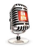 3d retro microfoon op lucht Stock Foto