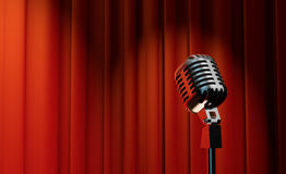 3d retro microphone on red curtain background. 3d retro microphone on red royal curtain background Royalty Free Stock Photo