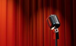 3d retro mikrofon na czerwonym zasłony tle Zdjęcie Royalty Free