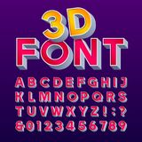 3D retro sign alphabet. Letters and numbers. Signboard font. Royalty Free Stock Photos