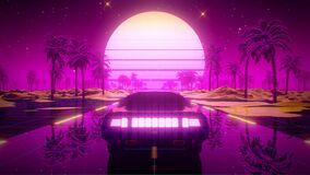 3D Retro Synthwave Car Landscape VJ Loop Motion Background