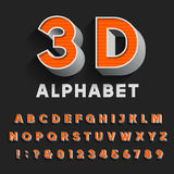 3D retro type font with shadow. Vector Alphabet. Royalty Free Stock Photo