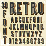 3d Retro type font, vintage typography Stock Image