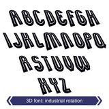 3d retro typeset with lines in rotation, vector uppercase callig Stock Photos