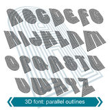 3d retro typeset with lines in rotation, vector Stock Photo