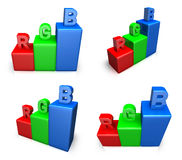 3D RGB graph icon. 3D Icon Design Series. Royalty Free Stock Images