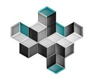 3d rhombus abstrakcjonistyczny kolorowy skład odizolowywający na białym tle Zdjęcie Royalty Free