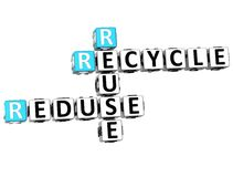 3D riciclano le parole incrociate di Reduse di riutilizzazione Fotografia Stock