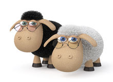 3d ridiculous sheep wearing spectacles Stock Photo