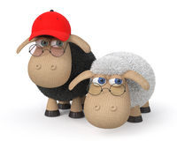 3d ridiculous sheep wearing spectacles Royalty Free Stock Photography