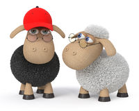 3d ridiculous sheep wearing spectacles Stock Photography