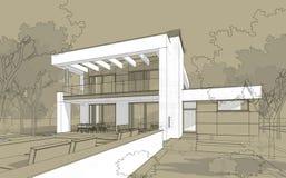 3D rinden bosquejo de la casa acogedora moderna en estilo del chalet Imagen de archivo