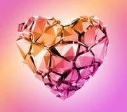 3d rinden, corazón cristalino rosado quebrado aislado en fondo en colores pastel stock de ilustración