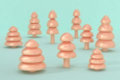 3d rinden de árboles de navidad en una superficie azul clara foto de archivo libre de regalías
