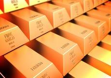 3D rinden de barras de oro. Foto de archivo