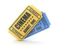 3d rinden de boleto de dos cines Imágenes de archivo libres de regalías