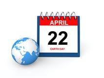 3d rinden de calendario de escritorio y del globo de la tierra Imágenes de archivo libres de regalías