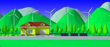 3d rinden de casa con las centrales eléctricas de energía eólica y los paneles solares Fotos de archivo