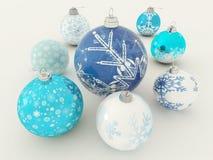 3D rinden de decoraciones azules y blancas hermosas del día de fiesta Fotos de archivo libres de regalías