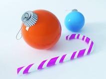 3D rinden de decoraciones coloridas hermosas de un día de fiesta con una caña de azúcar rosada Fotos de archivo libres de regalías