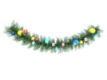 3D rinden de decoraciones multicoloras y de la guirnalda de un día de fiesta hermoso Imagen de archivo libre de regalías