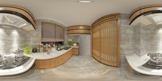3d rinden de degreees modernos de la cocina 360 ilustración del vector