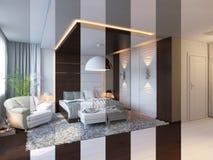 3d rinden de diseño interior del dormitorio en un estilo contemporáneo stock de ilustración