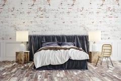 3d rinden de dormitorio industrial hermoso del estilo ilustración del vector