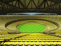 3D rinden de estadio de béisbol con los asientos amarillos y las cajas del VIP Foto de archivo libre de regalías