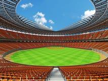 3D rinden de estadio de béisbol con los asientos anaranjados y las cajas del VIP Foto de archivo