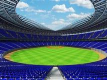 3D rinden de estadio de béisbol con los asientos azules y las cajas del VIP Foto de archivo