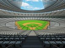 3D rinden de estadio de béisbol con los asientos blancos y las cajas del VIP Fotografía de archivo libre de regalías