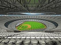 3D rinden de estadio de béisbol con los asientos blancos y las cajas del VIP Imágenes de archivo libres de regalías
