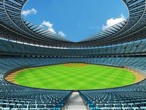 3D rinden de estadio de béisbol con los asientos del azul de cielo y las cajas del VIP Fotografía de archivo libre de regalías