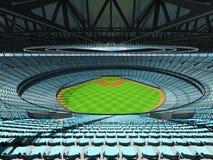 3D rinden de estadio de béisbol con los asientos del azul de cielo y las cajas del VIP Imágenes de archivo libres de regalías