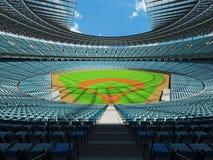 3D rinden de estadio de béisbol con los asientos del azul de cielo y las cajas del VIP Foto de archivo libre de regalías