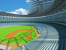 3D rinden de estadio de béisbol con los asientos del azul de cielo y las cajas del VIP Imagen de archivo libre de regalías