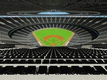3D rinden de estadio de béisbol con los asientos negros y las cajas del VIP Fotografía de archivo libre de regalías