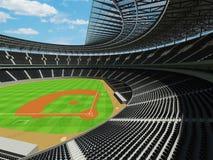 3D rinden de estadio de béisbol con los asientos negros y las cajas del VIP Imagen de archivo libre de regalías