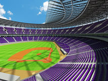 3D rinden de estadio de béisbol con los asientos púrpuras y las cajas del VIP Imagen de archivo libre de regalías