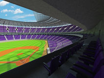 3D rinden de estadio de béisbol con los asientos púrpuras y las cajas del VIP Imagen de archivo