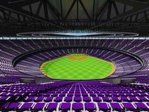 3D rinden de estadio de béisbol con los asientos púrpuras y las cajas del VIP Fotos de archivo