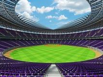 3D rinden de estadio de béisbol con los asientos púrpuras y las cajas del VIP Fotos de archivo libres de regalías